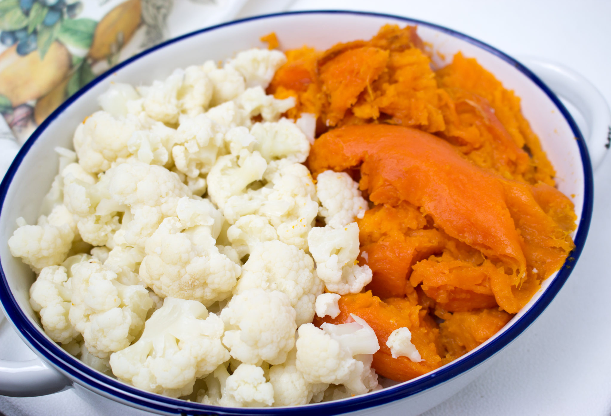 Sweet potatoes and cauliflower combined to create an amazingly smooth and savory side mashed potato recipe. No more marshmallows or added sweet flavorings. Roasting the sweet potatoes produces all the sweetness needed to make this side dish memorable. veganglutenfreelife.com/sweet-potato-cauliflower-mash/