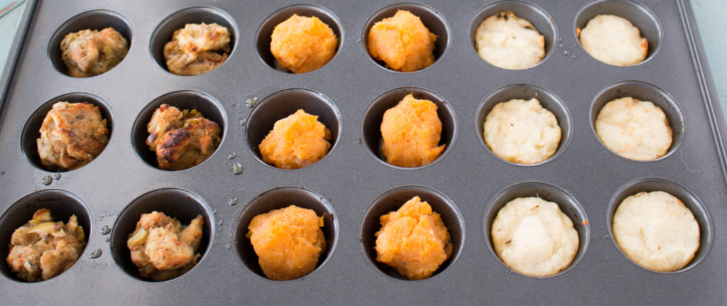 Easy holiday leftover side dishes simplified, use a mini muffin tray. Reinventing leftovers are key to getting them eaten up. www.infusedveggies.com