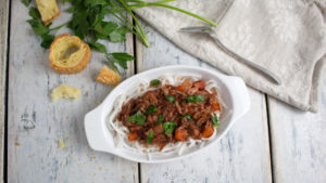 Jackfruit ragu is a vegan version of an old Italian favorite. Great made in an Instant Pot or crockpot. Can't beat a meal made with tomatoes, onions, garlic, red wine, veggies, herbs, spices and a pinch of yummy goodness! www.veganglutenfreelife.com/jackfruit-ragu/